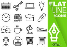 Editable stroke 70x70 pixel. Simple Set of Office vector sixteen flat line Icons with vertical green banner - calendar, scissors,. Notebook, bulb, clock Stock Photography