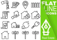 Editable stroke 70x70 pixel. Simple Set of real estate vector sixteen flat line Icons with vertical green banner - key, contract,. Fence, map, discount, find Stock Images