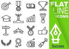 Editable stroke 70x70 pixel. Simple Set of success vector sixteen flat line Icons with vertical green banner - goal, medal, money, Stock Photo