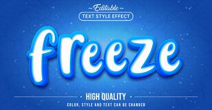 Free Editable Text Style Effect - Freeze Text Style Theme Royalty Free Stock Image - 214848516