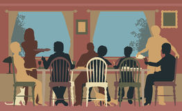 Family dining. Editable vector colorful silhouettes of a family dining together at home or in a restaurant vector illustration