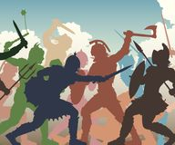 Battle melee illustration. Editable vector cutout illustration of fighting ancient warriors with figures and weapons as separate objects Royalty Free Stock Photos