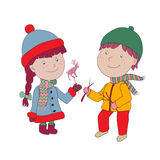 Editable Vector illustration. Boy and girl in coat and hat with Stock Images