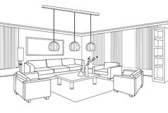 Editable vector illustration of an outline sketch of a interior. Interior outline sketch. Furniture blueprint Stock Images