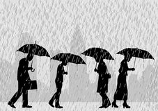 Rain people. Editable vector illustration of people on a city street walking through rain with umbrellas Stock Photography