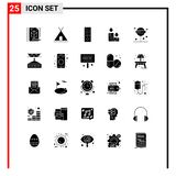 Editable Vector Line Pack of 25 Simple Solid Glyphs of lollipop, confect, control, nature, fire