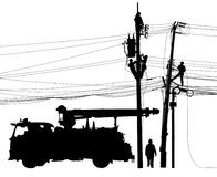 Electricity supply maintenance silhouette Stock Photo