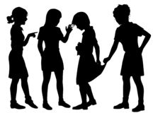 Girl bullies silhouette royalty free stock photography