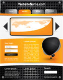Editable vector website template. Modern editable vector website template with metallic design and orange colors Royalty Free Stock Images