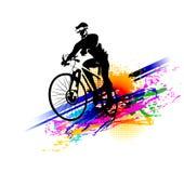 Editable Vektorillustration Radfahrersport Fahren Sie Reitertraining für Wettbewerb an einer Radfahrenstraße rad Plakat, Fahne, B Stockbild