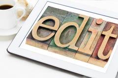 Edite a palavra no tipo de madeira imagens de stock