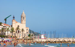 Editerranean sand beach  in Sitges Stock Images