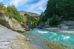 Edith cavell bridge over shotover river, arthurs point, queenstown, new zealand 2. Edith cavell bridge over shotover river, arthurs point, queenstown, otago royalty free stock photo