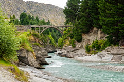 Edith Cavell Bridge - Queenstown. Edith Cavell Bridge over the Shotover River at Queenstown on the South Island of New Zealand royalty free stock photos