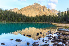 Edith Cavell Lake. In Alberta, Canada stock photography