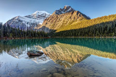 Edith Cavell Sunrise. Reflection of Mount Edith Cavell at sunrise in Jasper National Park, Alberta, Canada stock images