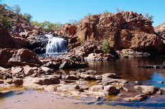 Edith Falls. Tourists swimming at Edith Falls or Leliyn falls, Nitmiluk National Park, Northern Territory, Australia; July 2013 stock photo