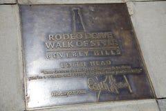 Edith Head Plaque im Bürgersteig auf dem Rodeo-Antrieb Lizenzfreies Stockfoto