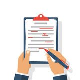 Editing documents to correct errors. Proofreader checks transcription written text. Clipboard and red pen in hands of men. Spell check. Vector illustration Stock Image