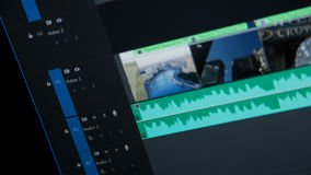 Editing time line. Blue in adobe premiere royalty free stock image
