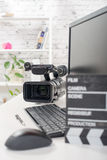 Editing video computer and camera Stock Photo