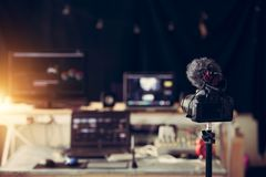 Editor content creator desktop house studio and gear royalty free stock images