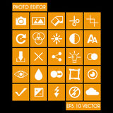 Editor de fotos Icon Set Imagen de archivo