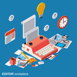 Editor, journalist, copywriter workplace vector concept Royalty Free Stock Images