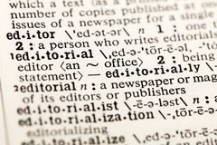 Editor office news editorial newspaper dictionary. Definition media publisher writer magazine word article stock photography