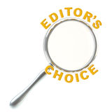Editor's choice under the magnifier isolated Royalty Free Stock Images