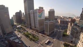 Editorial aéreo da cidade de Detroit filme