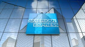 Editorial, American Express Company logo on glass building.