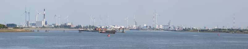 The harbor of Antwerp and its various industrial activities stock photography