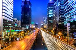 Editorial: Bangkok City, Thailand, 24th January 2017. The light. Of car on the road with traffic jam at night in Bangkok Thailand Royalty Free Stock Image