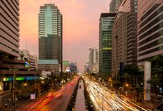 Editorial: Bangkok City, Thailand, 25th March 2017. The light of. Car on the road with traffic jam under sunset in Bangkok Thailand Stock Image