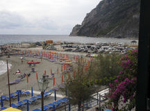 Editorial beach in Monterosso Cinque Terre Italy with tourists Royalty Free Stock Photography