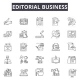 Editorial business line icons, signs, vector set, outline illustration concept. Editorial business line icons, signs, vector set, outline concept illustration royalty free illustration
