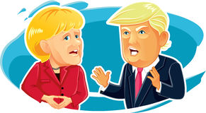 Editorial Caricature  of Angela Merkel and Donald Trump Stock Images
