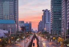 Editorial: Chong Nonsi BTS Station, 15th April 2017. The light o. F car on the road with traffic jam under sunrise in Bangkok Thailand Royalty Free Stock Image