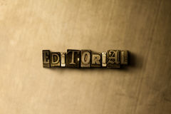 EDITORIAL - close-up of grungy vintage typeset word on metal backdrop Royalty Free Stock Photography