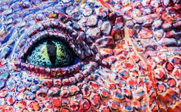 Editorial colourful temple with mosaic. 26 May 2014,Nakorn Rajasima ,Thailand : fantasy art eye shape with mosaic at Baan Rai Buddha temple Royalty Free Stock Photography