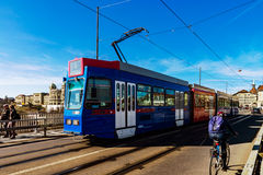 Editorial: 25 de febrero de 2017: Berna, Suiza Tranvía en el ce Imágenes de archivo libres de regalías