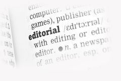 Editorial Dictionary Definition. Single word with soft focus Royalty Free Stock Image