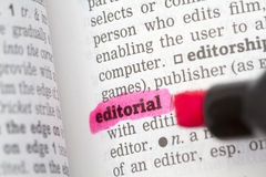Editorial Dictionary Definition. Single word with soft focus Stock Image