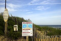 Editorial Ditch Plains Montauk New York rip current warning and Royalty Free Stock Photography