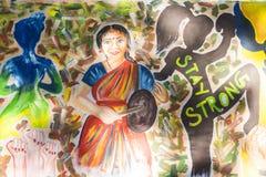 Editorial documentável PONDICHERY, PUDUCHERY, TAMIL NADU, ÍNDIA - 8 de março de 2018 Para o dia internacional da mulher, gir não  Imagem de Stock Royalty Free