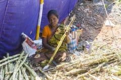 Editorial documental PUDUCHERY, PONDICHERY, TAMIL NADU, la INDIA - marzo circa, 2018 Corte no identificado de la mujer que prepar foto de archivo