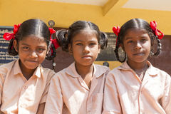 Editorial documentary image, portraits of school students. Pondichery, Tamil Nadu, India - March 03, 2014. In the school, portraits of indian boys and girls Stock Photo