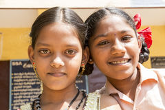 Editorial documentary image, portraits of school students. Pondichery, Tamil Nadu, India - March 03, 2014. In the school, portraits of indian boys and girls Royalty Free Stock Image