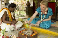Editorial documentary image. Puja Thila Homa in India Stock Images